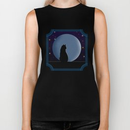 Black Cat in the Moonlight Biker Tank
