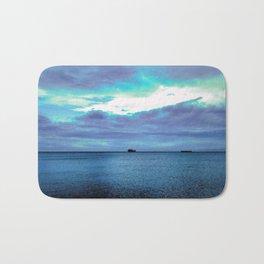 infinite blue of sea and sky Bath Mat