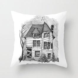 Rundown Haunted House Throw Pillow