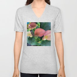 Calla Lilies In Autumn Apple Red & Pink Hues Unisex V-Neck
