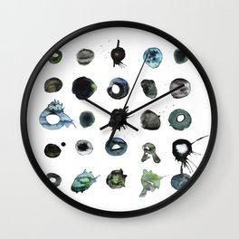 Blue Splats and Blobs. Watercolor and Ink. Abstract Art, Contemporary Art, Square Print, Minimal. Wall Clock