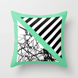 Stripes N Marble - Black and white geometric stripes and marble pattern, bold on green background Throw Pillow