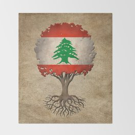 Vintage Tree of Life with Flag of Lebanon Throw Blanket