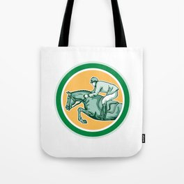 Equestrian Show Jumping Side Circle Retro Tote Bag