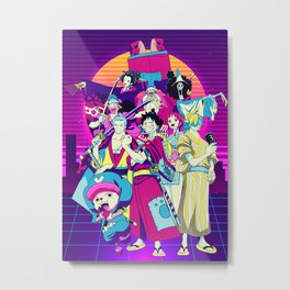 One Piece Anime - Straw Hat Pirates Retro Metal Print