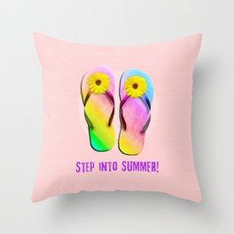 Step into Summer! Throw Pillow