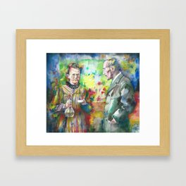 MARIE and PIERRE CURIE - watercolor portrait Framed Art Print