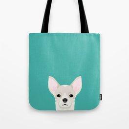 Chihuahua dog head pet art dog breed chihuahuas peeking Tote Bag