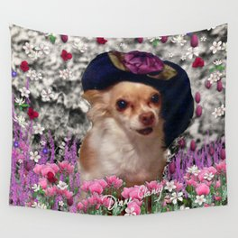 Chi Chi in Purple, Red, Pink, White Flowers, Chihuahua Puppy Dog Wall Tapestry