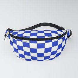 Cobalt Blue and White Checkerboard Pattern Fanny Pack