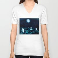 kodama V-neck T-shirts featuring Princess Mononoke (Kodama) by pkarnold + The Cult Print Shop