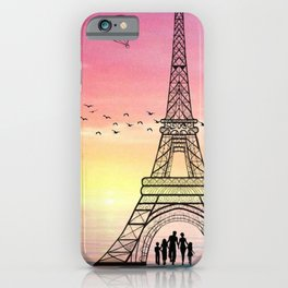 Colorful Eiffle Tower Background iPhone Case