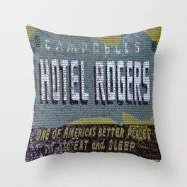 Idaho Falls - Vintage Hotel Rogers Better Place To Eat And Sleep Throw Pillow