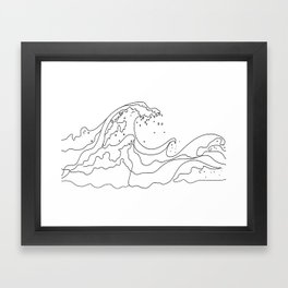 Minimal Line Art Ocean Waves Framed Art Print