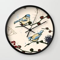 tits Wall Clocks featuring Blue Tits and Berries by Michelle Grace
