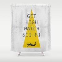 sci fi Shower Curtains featuring watch sci-fi by alex lodermeier