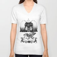 gemini V-neck T-shirts featuring Gemini by Deborah Panesar Illustration