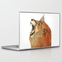 birthday Laptop & iPad Skins featuring Birthday Lion by Sandra Dieckmann