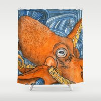 kraken Shower Curtains featuring Kraken by Amy Nickerson