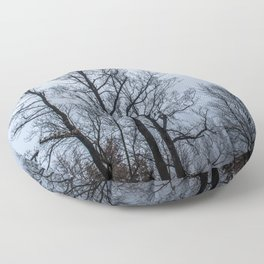 Naked tree in a foggy day Floor Pillow