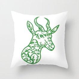 Springbok Head Paper Cut Throw Pillow