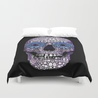 crossfit Duvet Covers featuring Skull Art - Day Of The Dead 2 Stone Rock'd by Sharon Cummings