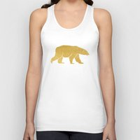gold foil Tank Tops featuring Gold Foil Polar Bear by Mod Pop Deco