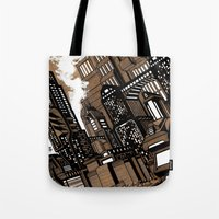 cityscape Tote Bags featuring Cityscape by David Miley