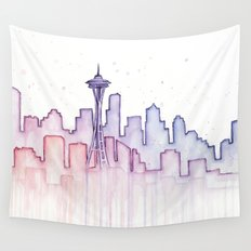 Seattle Skyline Watercolor Wall Tapestry