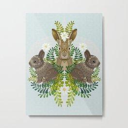 Cute Bunny Damask Metal Print