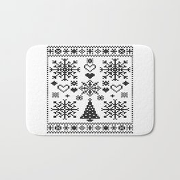 Christmas Cross Stitch Embroidery Sampler Black And White Bath Mat