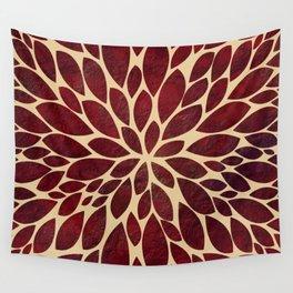 Petal Burst - Maroon - 2 Wall Tapestry