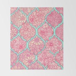 Moroccan Floral Lattice Arrangement in Pinks Throw Blanket