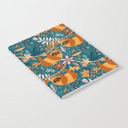 Happy Boho Sloth Floral Notebook