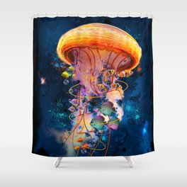 Electric Jellyish World Shower Curtain