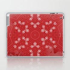 Red stripes on grunge pink mandala Laptop & iPad Skin