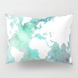 Design 62 World Map Turquoise Aqua Pillow Sham