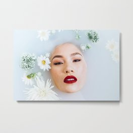 Asian Woman in Milk Bath Metal Print