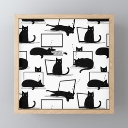 Cats Sitting on Laptops Framed Mini Art Print
