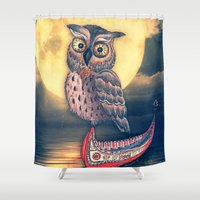philippines Shower Curtains featuring Lanyu Scops Owl with Traditional Canoe by Nirvana.K
