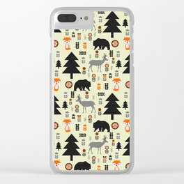 Winter bears, foxes and deer Clear iPhone Case