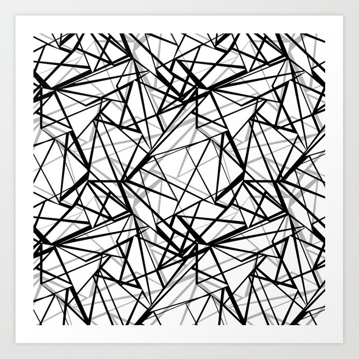 Black And White Abstract Geometric Pattern Art Print By Fuzzyfox85