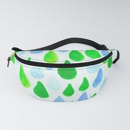 Rainy Day Raindrops Hand Painted Pattern Green Aqua and Blue Fanny Pack