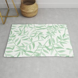 Mint Green Leaves - Watercolor Print  Rug