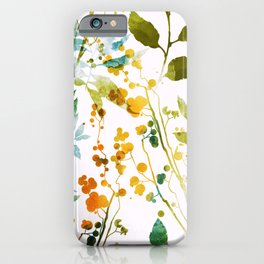 Imprints herbs, flowers and leaves. Abstract watercolor floral, hand drawn boho spring illustration pattern.  iPhone Case