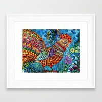 cock Framed Art Prints featuring Cock by oxana zaika