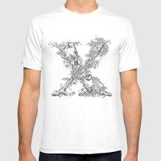 Letter 'X' Monochrome MEDIUM Mens Fitted Tee White