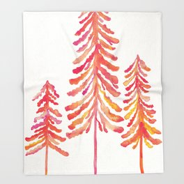 Pine Trees – Pink & Peach Ombré Throw Blanket