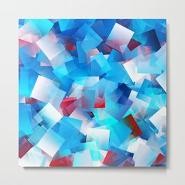 Bright Blue Cubes Metal Print