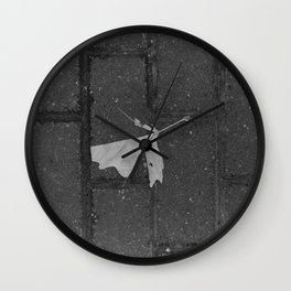 leave and let die, dead leaf, sidewalk urban photography Wall Clock